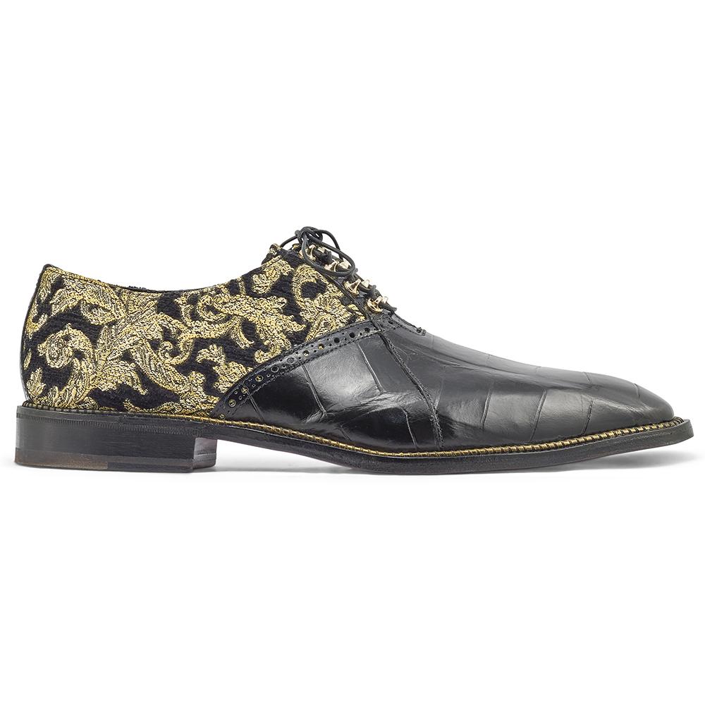 Mauri Smooth 4936 Alligator & Didier Fabric Shoes Black / Gold Image