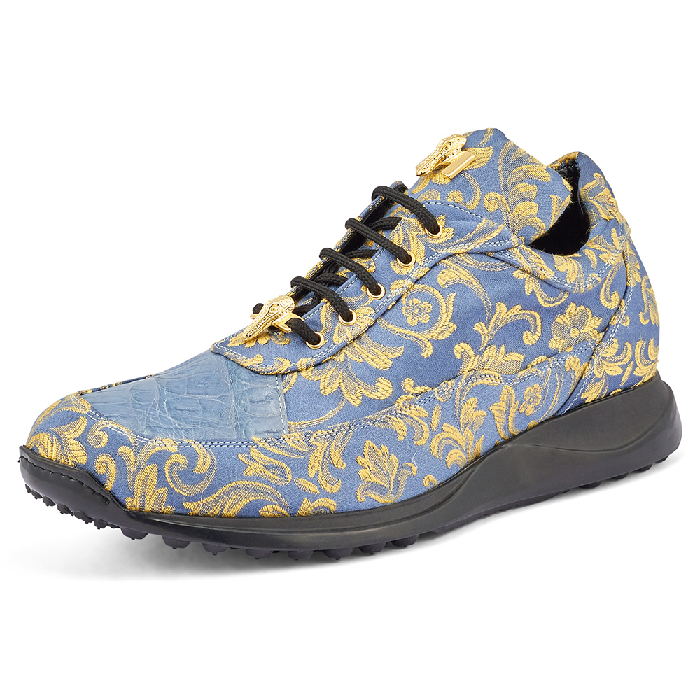 Mauri Solid Gold 8900/2 Gobelins Fabric & Croc Sneakers New Blue Image