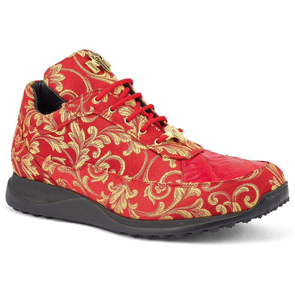Mauri Solid Gold 8900/2 Gobelins Fabric & Croc Sneakers Red Image