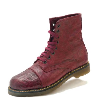 Mauri Tempo M761 Nappa & Crocodile Boots Burgundy (Special Order) Image