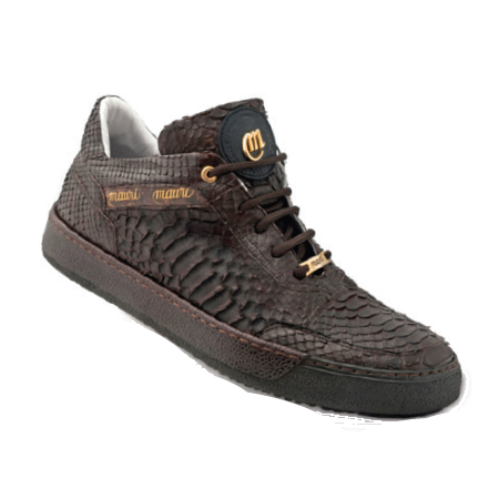 Mauri Thai 8516 Python & Pebble Grain Sneakers Dark Brown (Special Order) Image