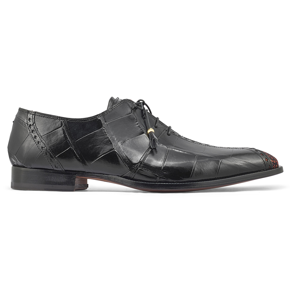 Mauri Two Face 4975/2 Body Alligator & Matahari Fabric Shoes Black / Coral Image