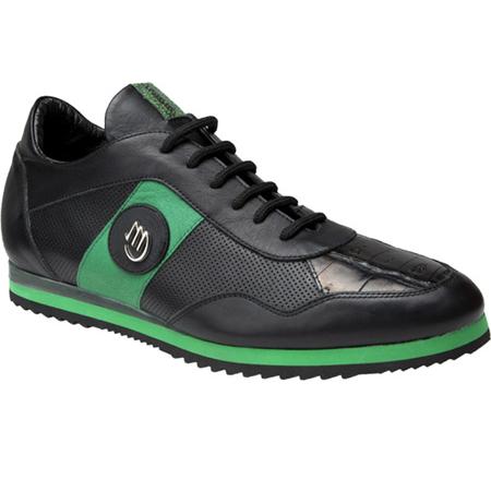 Mauri Varieta 8652 Nappa & Baby Crocodile Sneakers Black/Green (Special Order) Image
