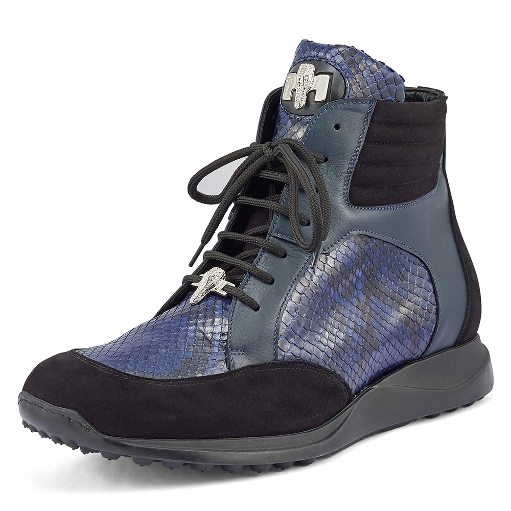Mauri Viper 8421 Suede / Python & Nappa Sneakers Black / W Blue Image