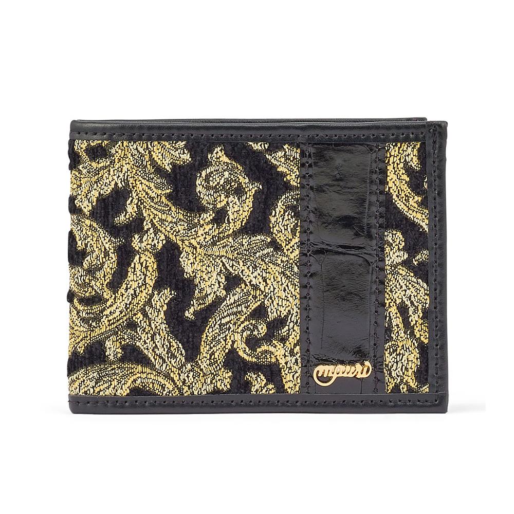 Mauri W3 Nappa / Didier Fabric & Baby Croc Wallet Black / Gold Image