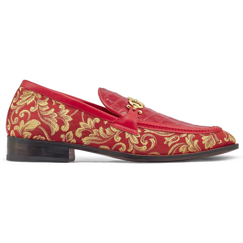 Mauri Wealth 4954 Gobelins Fabric / Calfskin & Alligator Loafers Red Image