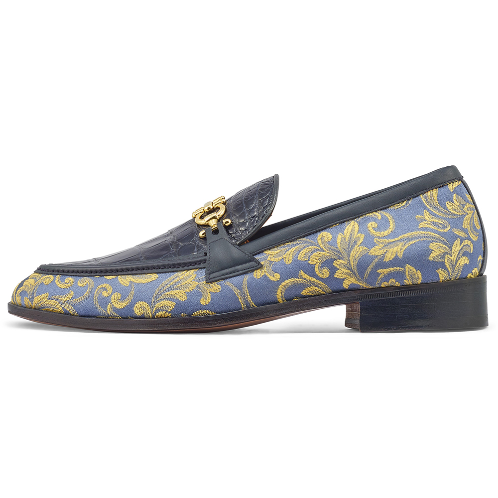 Mauri 4954 Gobelins Fabric / Calfskin & Alligator Loafers W. Blue / New Blue Image