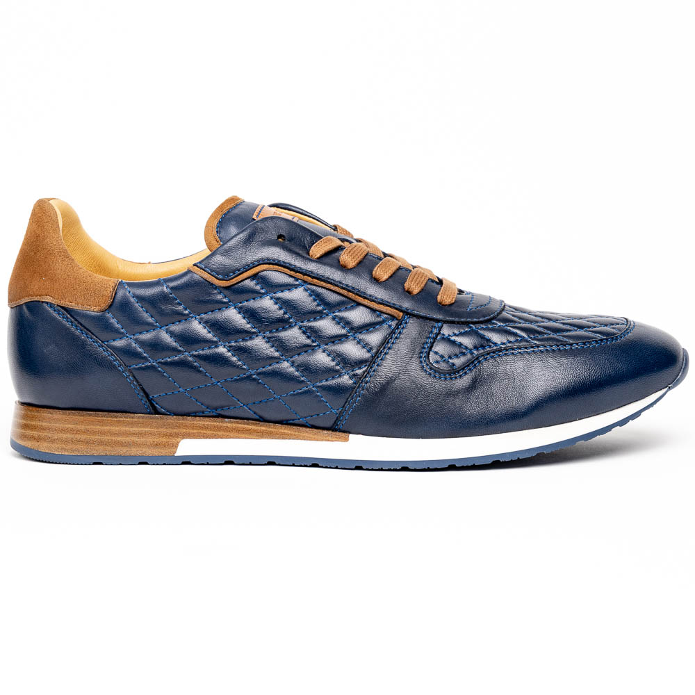 Mezlan 20138 Quilted Calfskin Sport Sneakers Blue Image