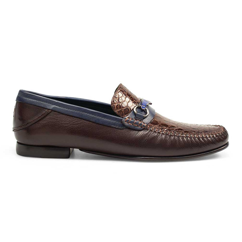 Mezlan 7293-C Caiman Crocodile / Calfskin Shoes Brown / Blue Image