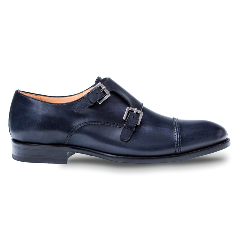 Mezlan Acosta Calfskin Monk Shoes Black Image