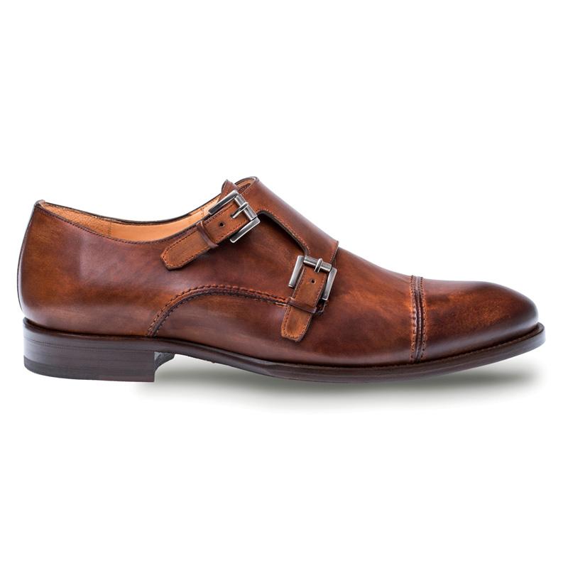 Mezlan Acosta Calfskin Monk Shoes Brown Image