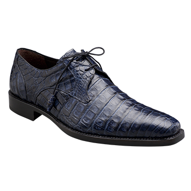 Mezlan Anderson Crocodile Derby Shoes Blue Image