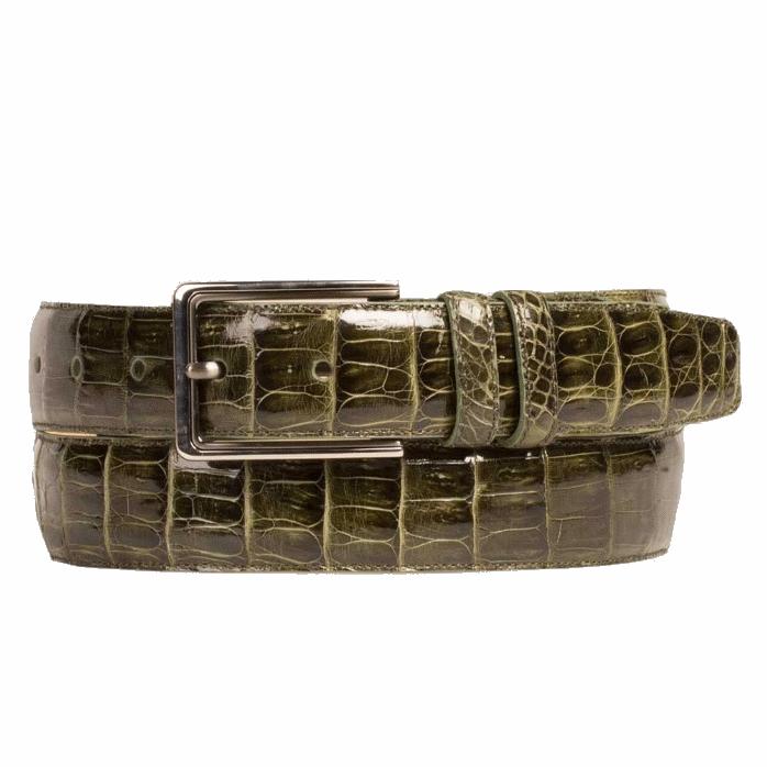 Mezlan AO8603 Genuine Crocodile Belt Olive Image