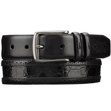 Mezlan AO9654 Genuine Crocodile  & Calfskin Belt Black Image