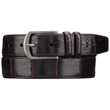 Mezlan AO9657 Genuine Crocodile Belt Black / Ruby Image