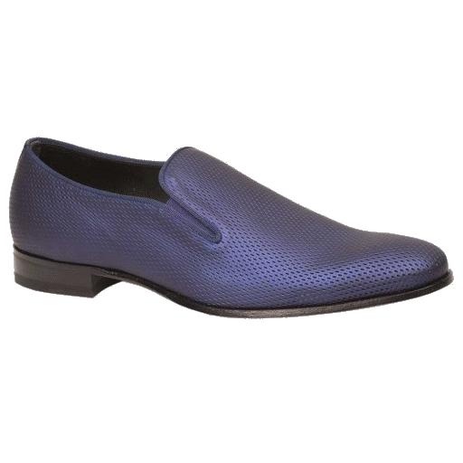 Mezlan Auguste Embossed Calfskin Evening Loafers Blue Image