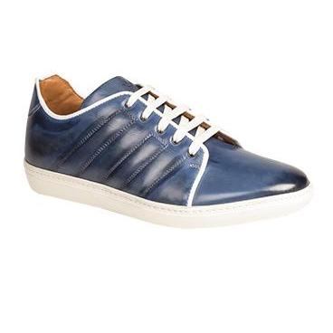 Mezlan Burnished Calfskin Sneakers Blue Image