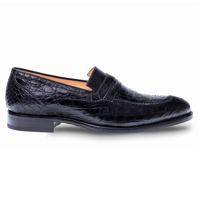 Mezlan Bixby Crocodile Loafer Shoes Black Image