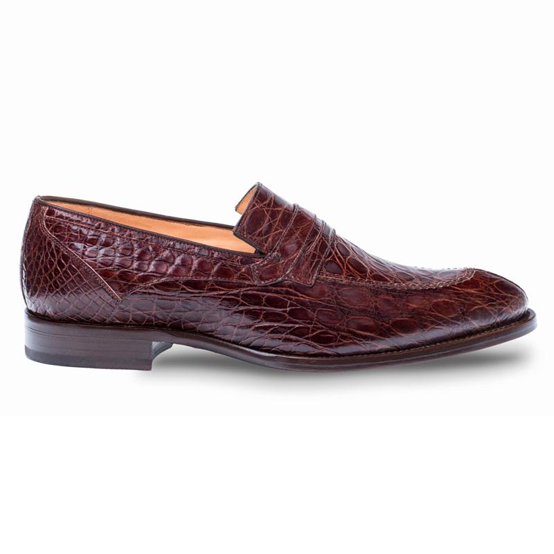 Mezlan Bixby Crocodile Loafer Shoes Brown Image