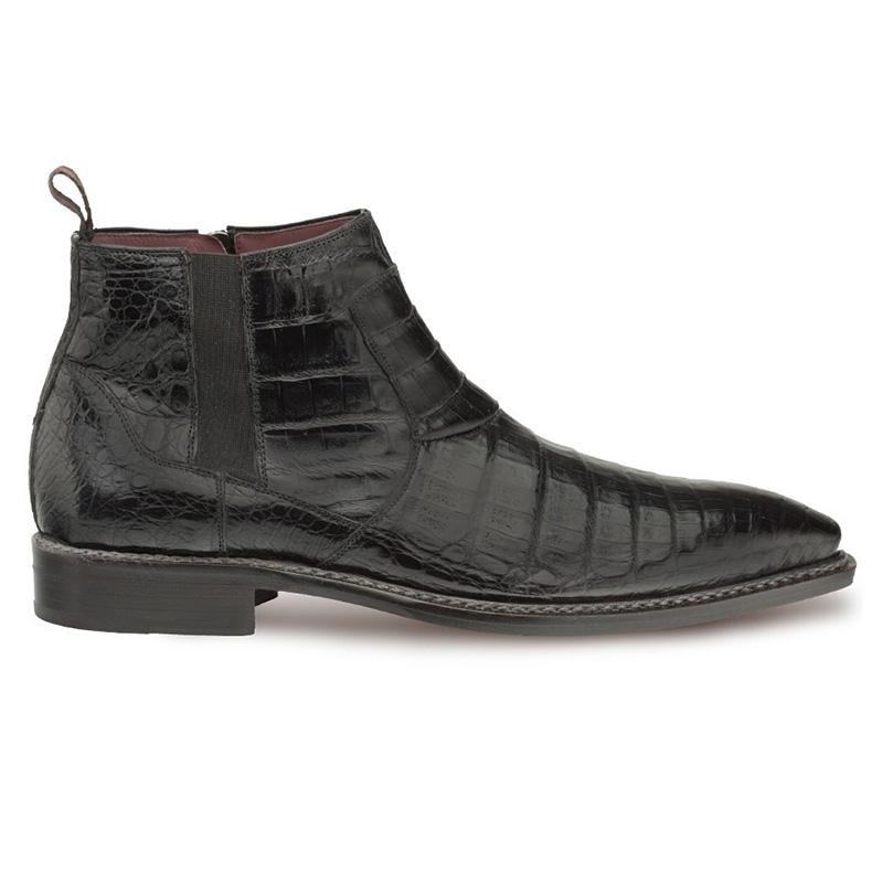 Mezlan Blackmore Crocodile Dress Boots Black Image