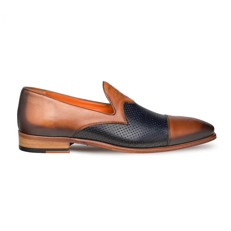 Mezlan Bora Calfskin Shoes Tan / Blue Image