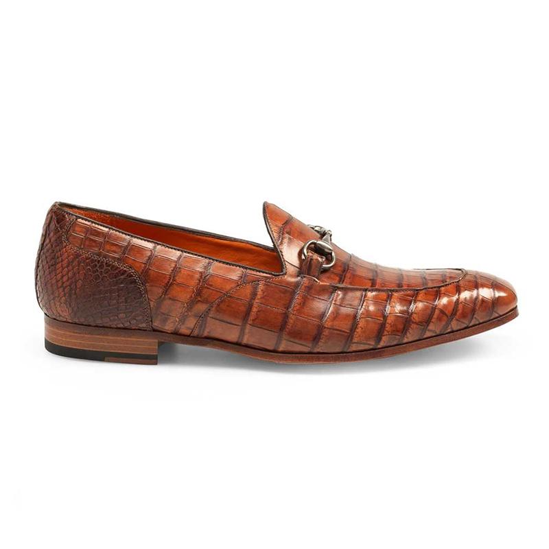 Mezlan Borgese Alligator Bit Loafers Gold Image
