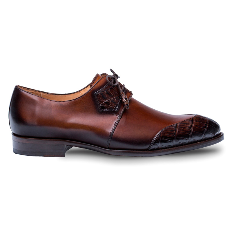 Mezlan Boyd Crocodile Calfskin Shoes Brown Cognac Image