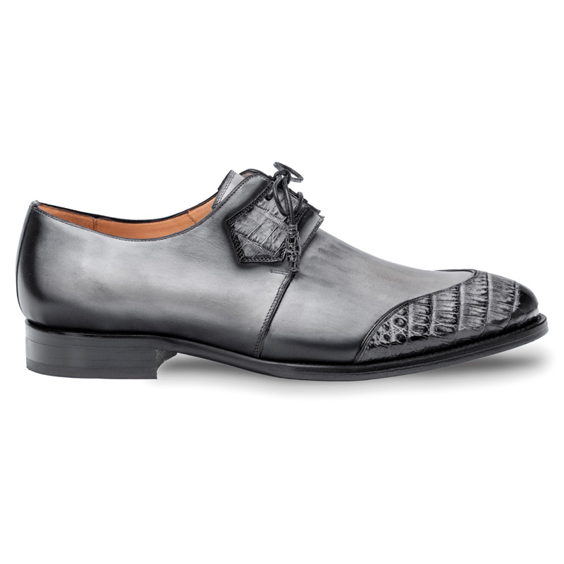 Mezlan Boyd Crocodile Calfskin Shoes Grey Black Image