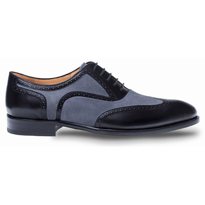Mezlan Cantone Wingtip Shoes Black / Gray Image