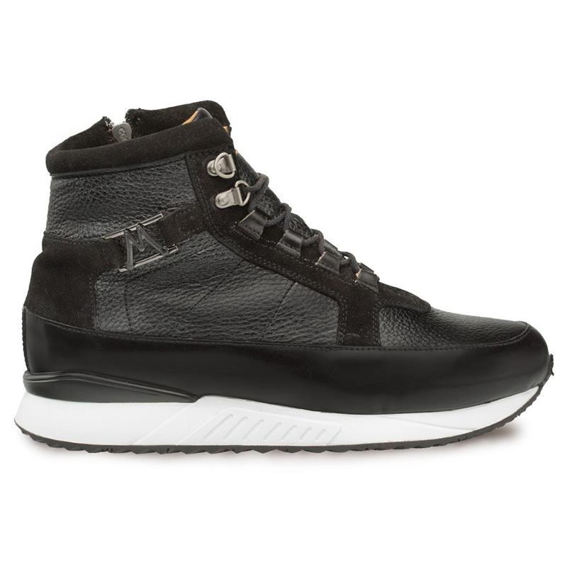 Mezlan Cardew Calfskin Hi-top Lace Up Sneakers Black Image