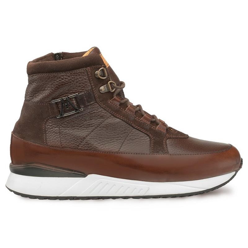Mezlan Cardew Calfskin Hi-top Lace Up Sneakers Brown Image