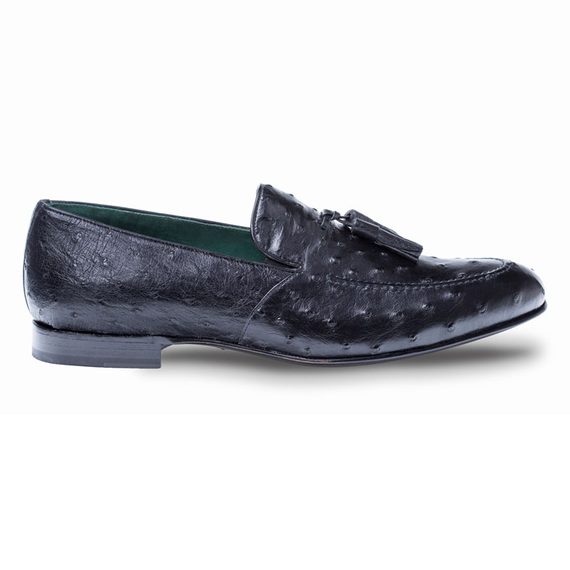 Mezlan Conte Ostrich Loafer Shoes Black Image