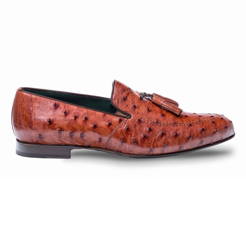 Mezlan Conte Ostrich Loafer Shoes Brandy Image