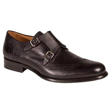 Mezlan Coruna Wingtip Monk Strap Shoes Graphite Image