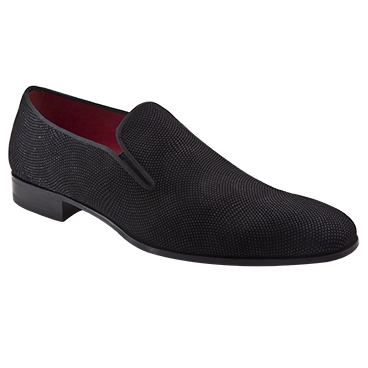 Mezlan Crespi Beaded Suede Loafers Black Image