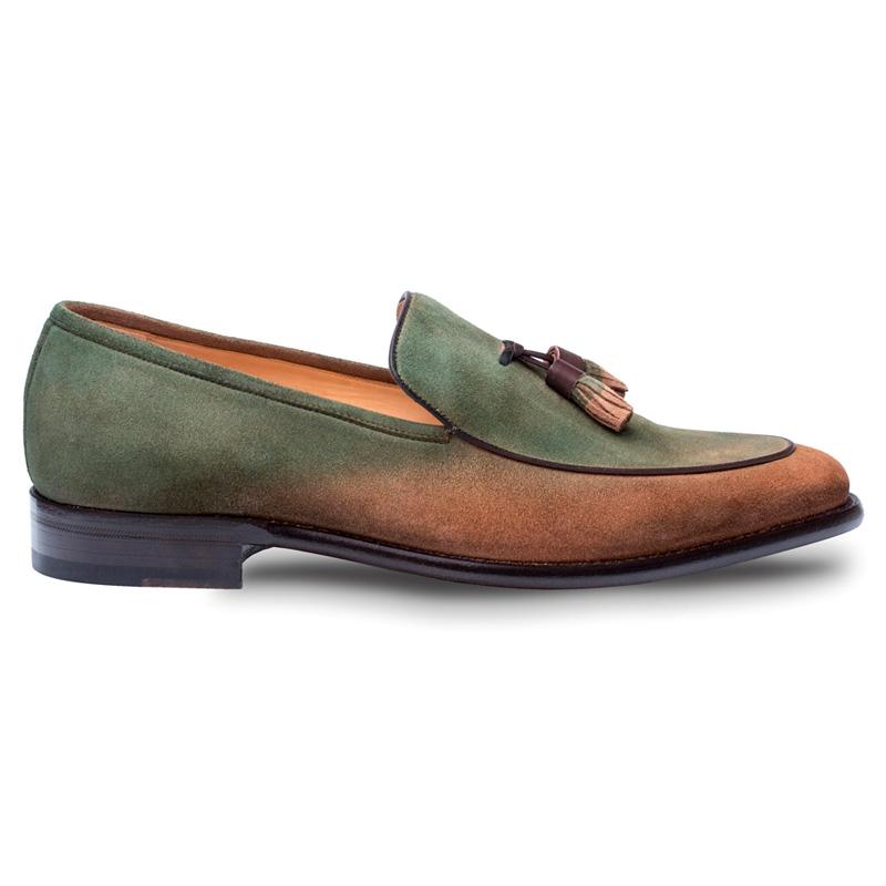 Mezlan Deep Suede Shoe Cognac Green Image