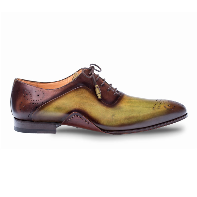 Mezlan Ferrara Oxford Shoes Olive / Dark Brown Image