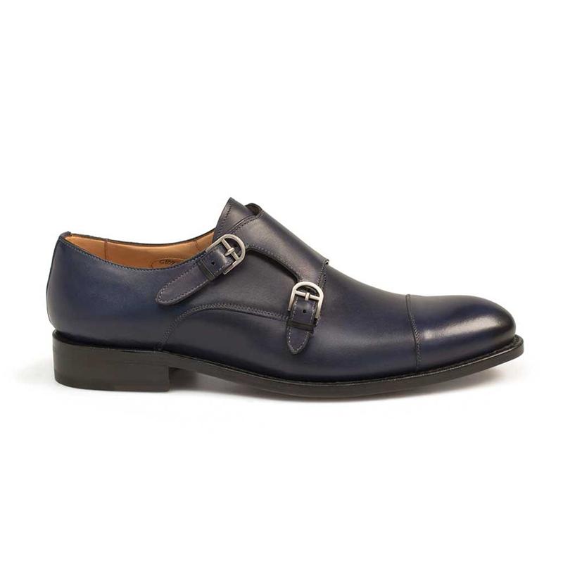 Mezlan G109-1 Calfskin Monkstrap Shoes Blue Image