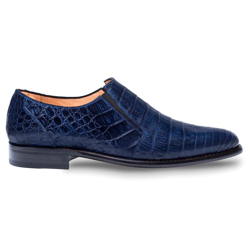 Mezlan Gere Crocodile Loafers Blue Image