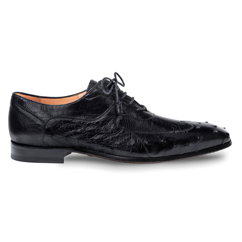 Mezlan Getty Ostrich Oxford Shoes Black Image