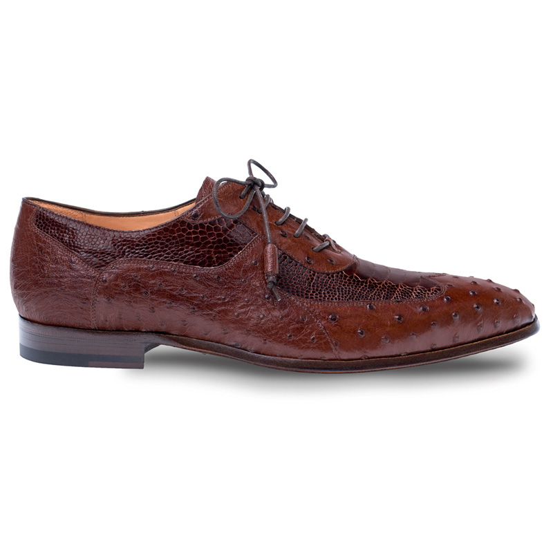 Mezlan Getty Ostrich Oxford Shoes Tabac Rugger Image