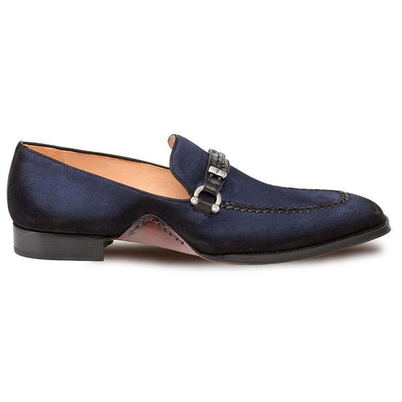 Mezlan Halsey Suede Slip-on Shoes Blue Image