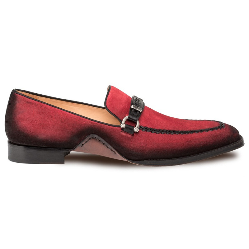 Mezlan Halsey Suede Slip-on Shoes Red Image