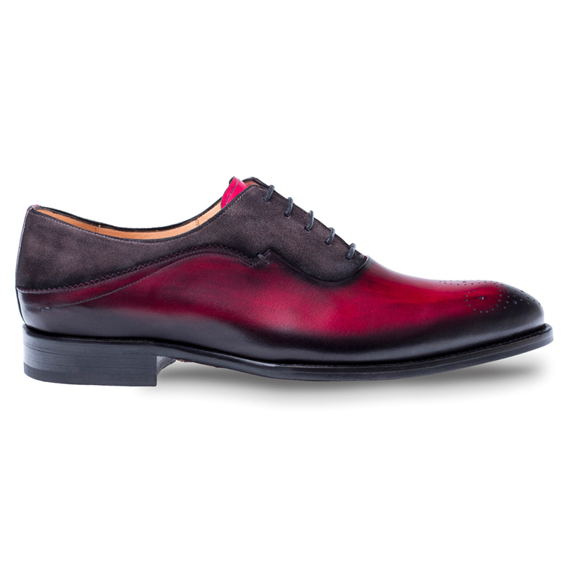 Mezlan Hanks Calfskin Suede Oxford Shoes Burgundy / Grey Image