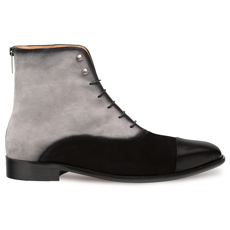 Mezlan Harlem Calfskin Suede Lace-up Boots Black Grey Image