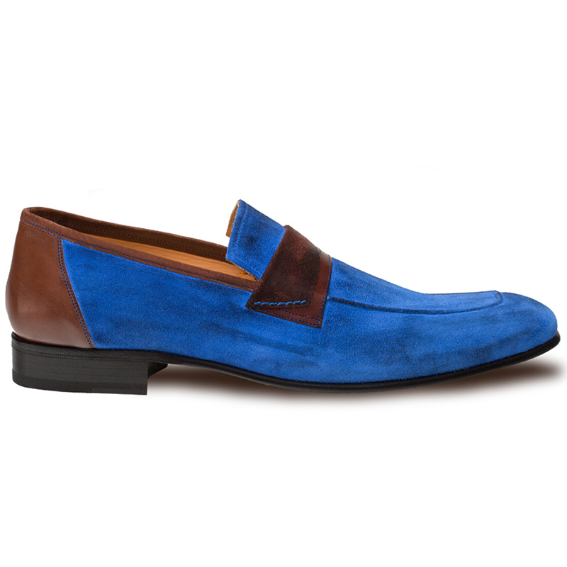 Mezlan Jordi Suede Calfskin Shoes Blue / Brown Image