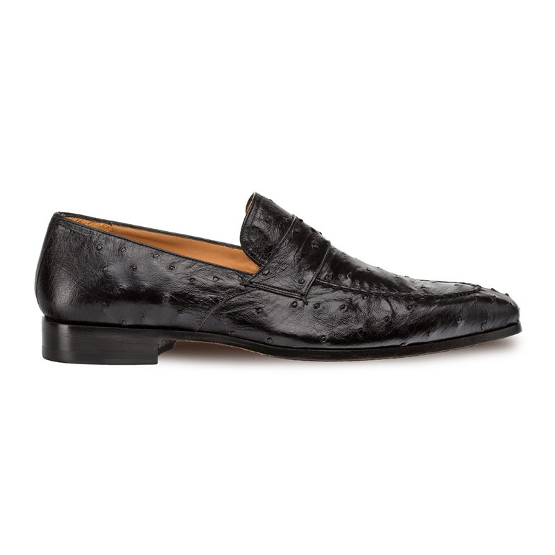 Mezlan Lisbon Ostrich Quill Penny Loafers Black Image
