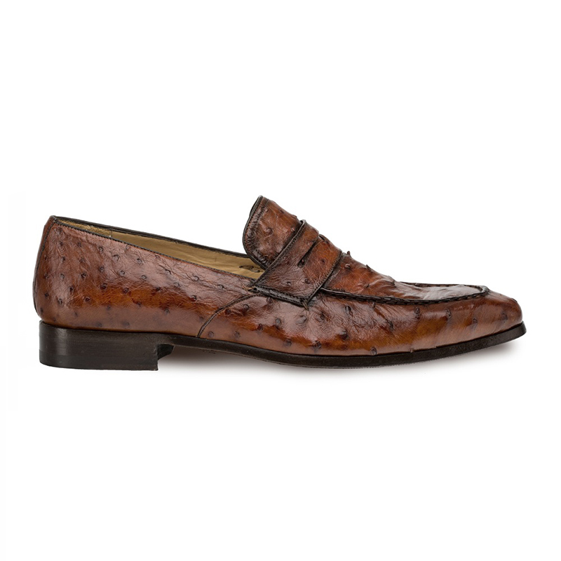 Mezlan Lisbon Ostrich Quill Penny Loafers Brandy Image