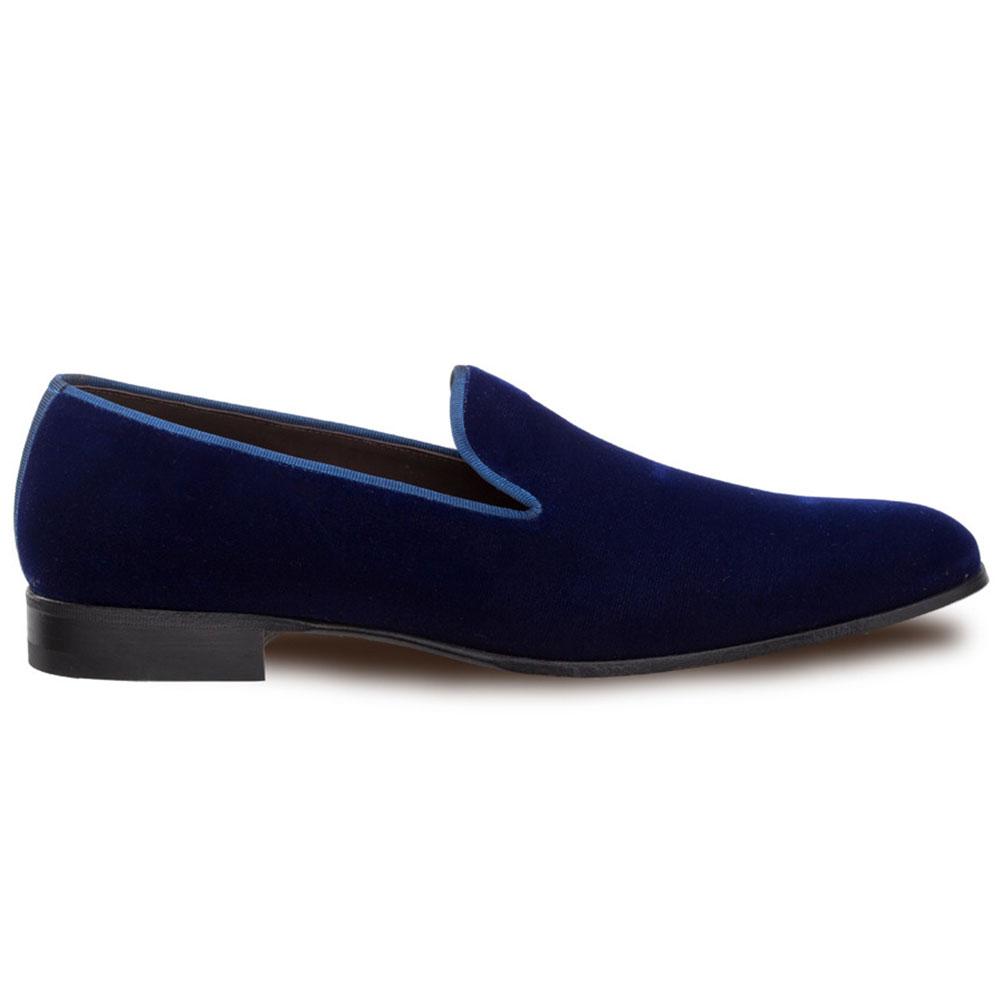 Mezlan Lublin Velvet Formal Loafers Blue Image
