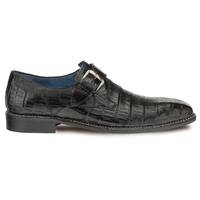 Mezlan Magnus Crocodile Monk Strap Shoes Black Image